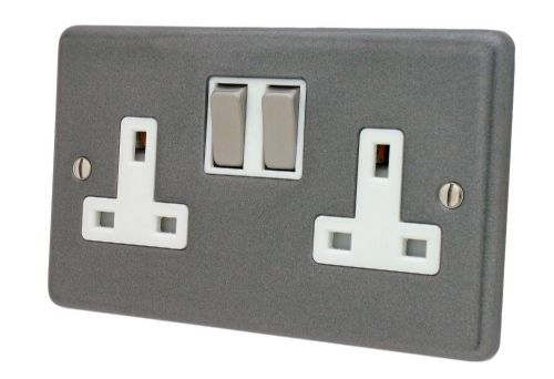 G&H CP210 Standard Plate Pewter 2 Gang Double 13A Switched Plug Socket